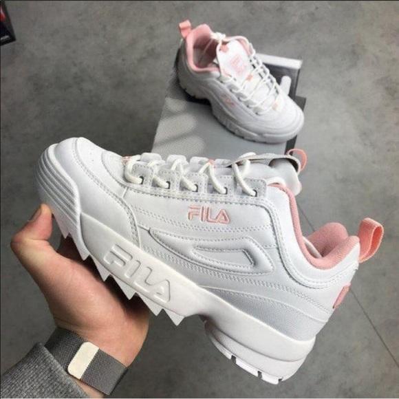White And Pink Fila Sneakers | Poshmark